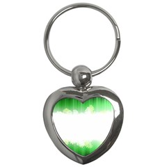 Green Floral Stripe Background Key Chains (Heart)