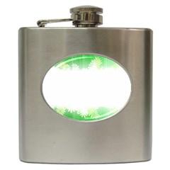 Green Floral Stripe Background Hip Flask (6 oz)