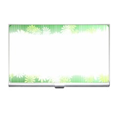 Green Floral Stripe Background Business Card Holders