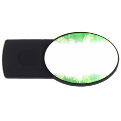 Green Floral Stripe Background USB Flash Drive Oval (2 GB)