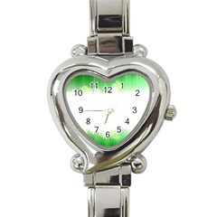 Green Floral Stripe Background Heart Italian Charm Watch