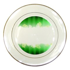 Green Floral Stripe Background Porcelain Plates