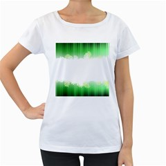 Green Floral Stripe Background Women s Loose-Fit T-Shirt (White)