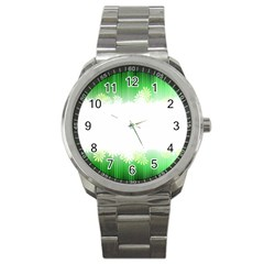 Green Floral Stripe Background Sport Metal Watch