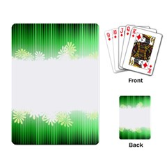 Green Floral Stripe Background Playing Card