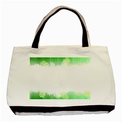 Green Floral Stripe Background Basic Tote Bag