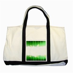 Green Floral Stripe Background Two Tone Tote Bag