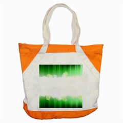 Green Floral Stripe Background Accent Tote Bag