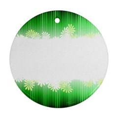 Green Floral Stripe Background Round Ornament (two Sides)