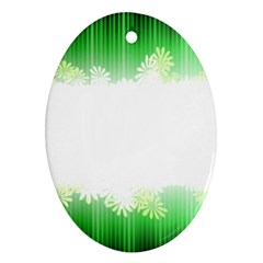 Green Floral Stripe Background Oval Ornament (two Sides)