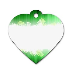 Green Floral Stripe Background Dog Tag Heart (one Side)