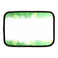 Green Floral Stripe Background Netbook Case (Medium)
