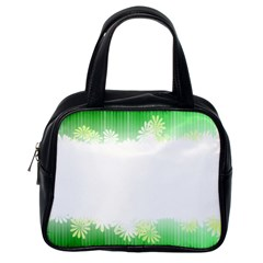 Green Floral Stripe Background Classic Handbags (one Side)