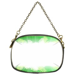 Green Floral Stripe Background Chain Purses (one Side)