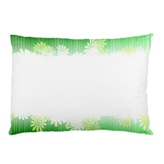 Green Floral Stripe Background Pillow Case