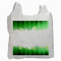 Green Floral Stripe Background Recycle Bag (two Side)