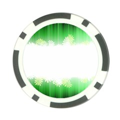 Green Floral Stripe Background Poker Chip Card Guard (10 pack)