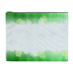 Green Floral Stripe Background Cosmetic Bag (XL)