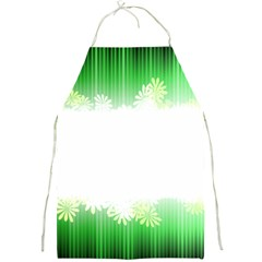 Green Floral Stripe Background Full Print Aprons