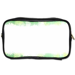 Green Floral Stripe Background Toiletries Bags