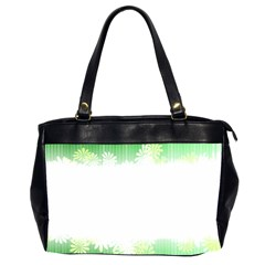 Green Floral Stripe Background Office Handbags (2 Sides)