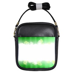 Green Floral Stripe Background Girls Sling Bags