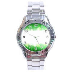 Green Floral Stripe Background Stainless Steel Analogue Watch