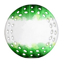 Green Floral Stripe Background Round Filigree Ornament (Two Sides)