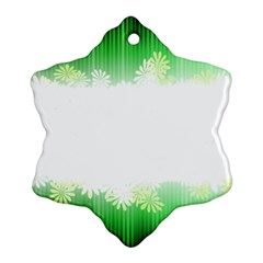 Green Floral Stripe Background Snowflake Ornament (Two Sides)