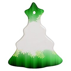Green Floral Stripe Background Christmas Tree Ornament (Two Sides)