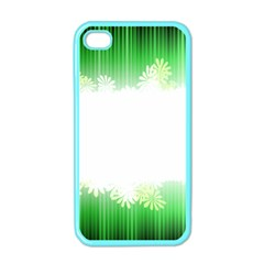 Green Floral Stripe Background Apple iPhone 4 Case (Color)
