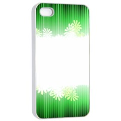 Green Floral Stripe Background Apple iPhone 4/4s Seamless Case (White)