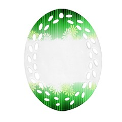 Green Floral Stripe Background Oval Filigree Ornament (Two Sides)