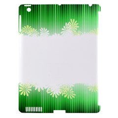 Green Floral Stripe Background Apple iPad 3/4 Hardshell Case (Compatible with Smart Cover)