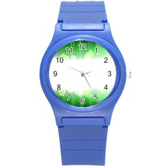 Green Floral Stripe Background Round Plastic Sport Watch (S)