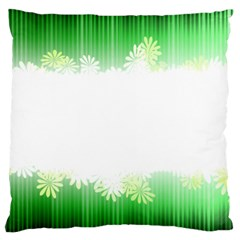 Green Floral Stripe Background Large Cushion Case (Two Sides)