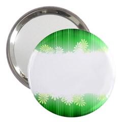 Green Floral Stripe Background 3  Handbag Mirrors