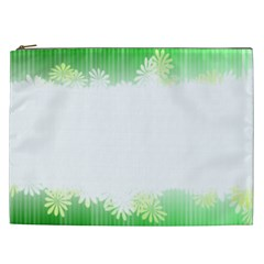 Green Floral Stripe Background Cosmetic Bag (XXL)