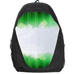 Green Floral Stripe Background Backpack Bag