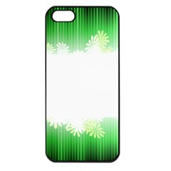 Green Floral Stripe Background Apple iPhone 5 Seamless Case (Black)