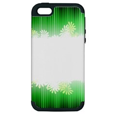 Green Floral Stripe Background Apple Iphone 5 Hardshell Case (pc+silicone)