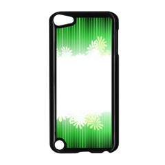 Green Floral Stripe Background Apple iPod Touch 5 Case (Black)