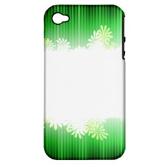 Green Floral Stripe Background Apple iPhone 4/4S Hardshell Case (PC+Silicone)