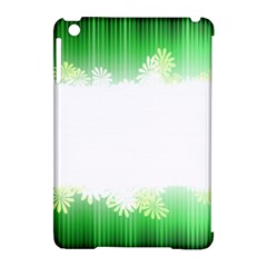 Green Floral Stripe Background Apple Ipad Mini Hardshell Case (compatible With Smart Cover)