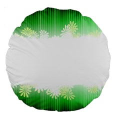 Green Floral Stripe Background Large 18  Premium Round Cushions