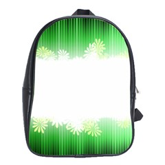 Green Floral Stripe Background School Bags (XL)