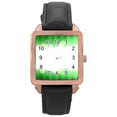Green Floral Stripe Background Rose Gold Leather Watch