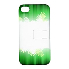 Green Floral Stripe Background Apple Iphone 4/4s Hardshell Case With Stand