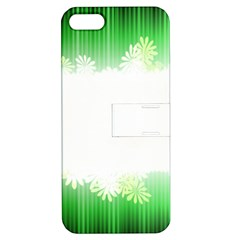 Green Floral Stripe Background Apple iPhone 5 Hardshell Case with Stand