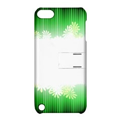 Green Floral Stripe Background Apple iPod Touch 5 Hardshell Case with Stand